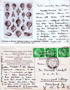 Postcard Siegried Loeschcke to Howard Comfort 16 April 1934